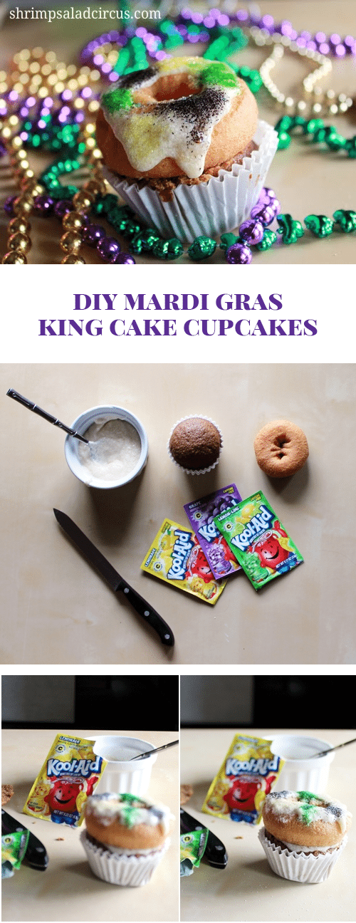 DIY King Cake Cupcakes for Mardi Gras
