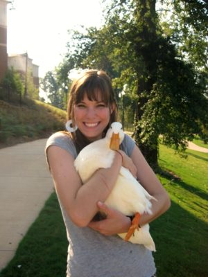 lindsay hugs all the animals . duck thumbnail