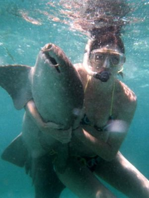 lindsay hugs all the animals . shark thumbnail