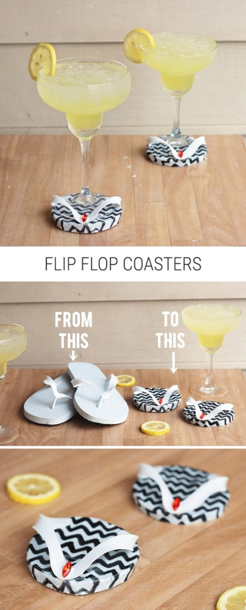 DIY Dollar Store or Old Navy Flip Flop Coasters from Shrimp Salad Circus