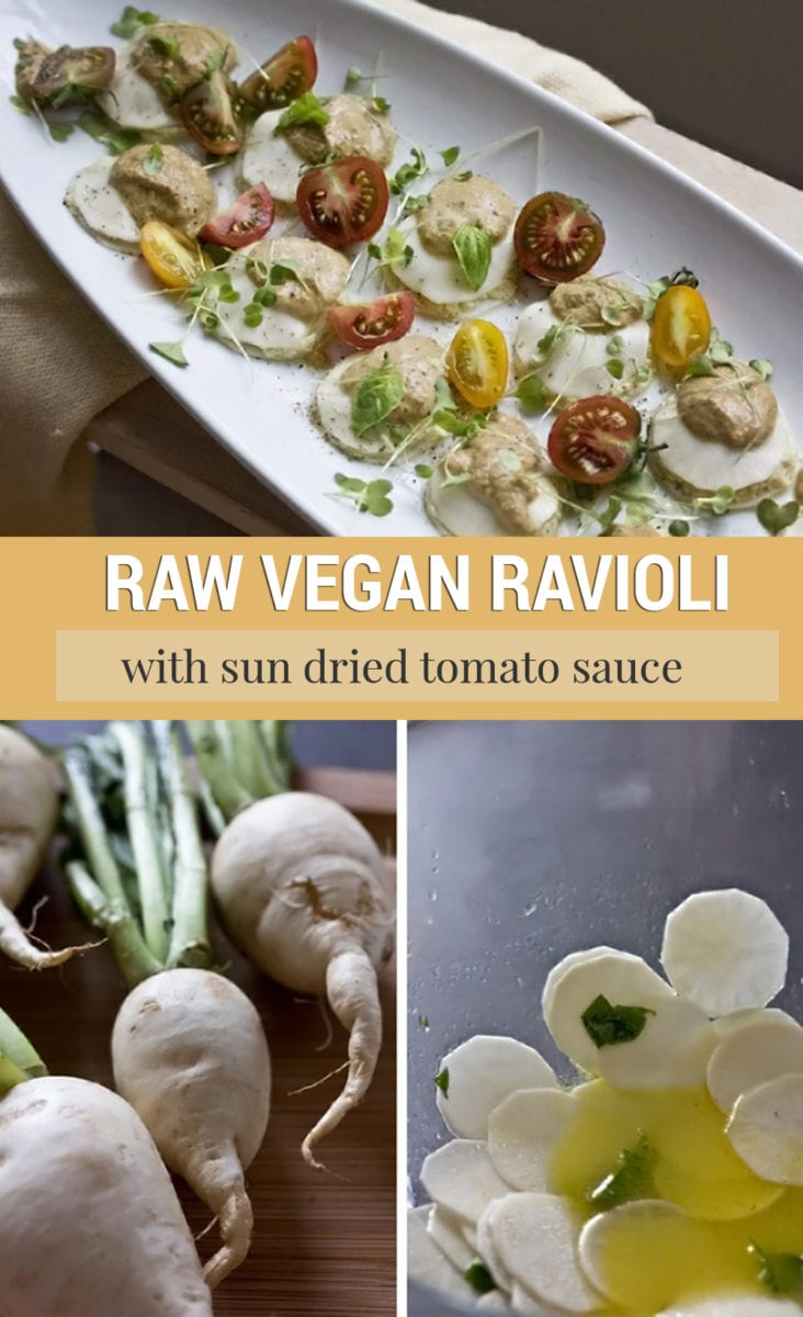 Raw Vegan Ravioli Recipe with Sun Dried Tomato Sauce on a White Plate