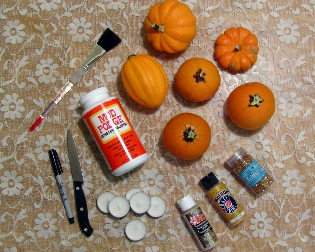 Read On After The Jump For How To Make Three Different Kinds Of Gold Shiny And Sparkly Pumpkins Turn Them Into Pretty Candle Holders