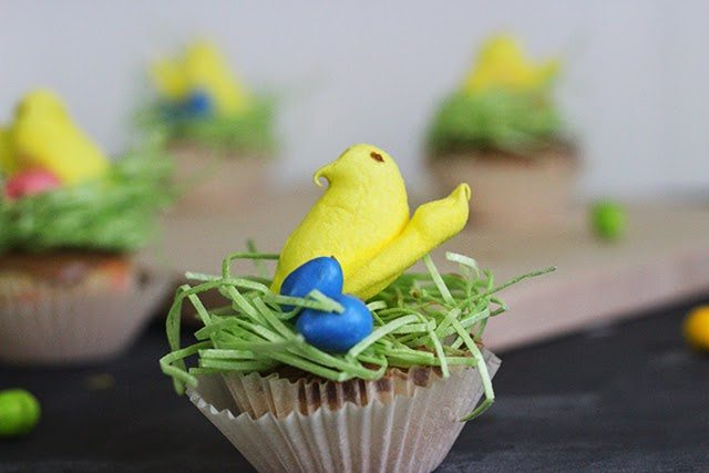These bird's nest cupcakes are so fun, and topped with a Peep--the ultimate Easter treat!