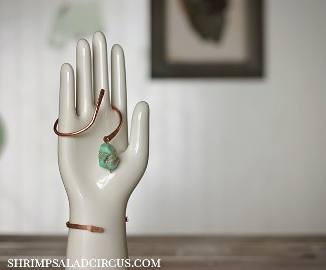 Skinny copper dangle bangle how to sday shrimp salad for Hammered copper jewelry tutorial