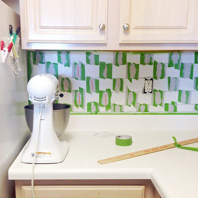 Faux Painted Subway Tile Backsplash 4