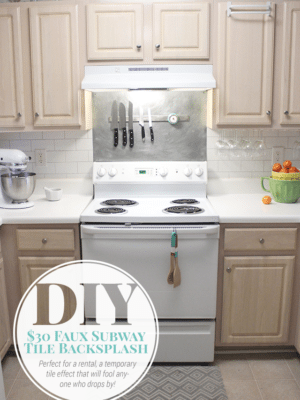 $30 DIY Faux Subway Tile Painted Backsplash thumbnail