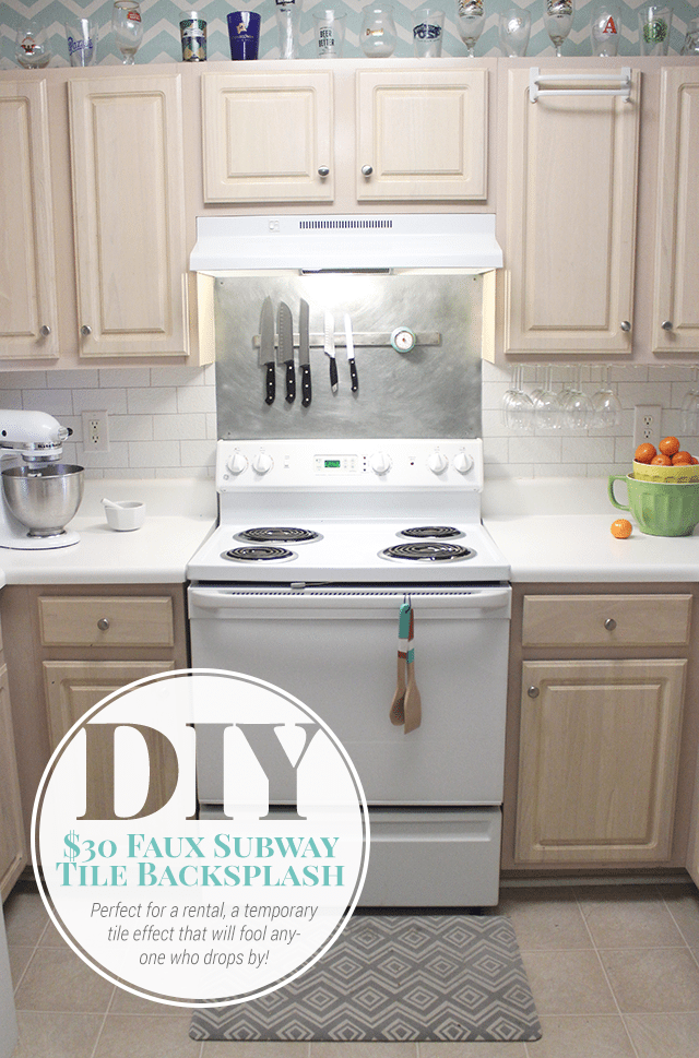 Paint Backsplash Tile $30 Faux Subway Tile Painted Backsplash Tutorial