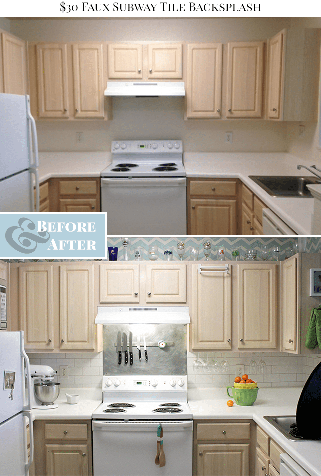 Faux Subway Tile Painted Backsplash Before & After