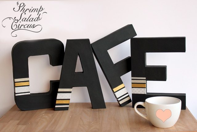 Washi Tape Paper Mache Cafe Sign Tutorial