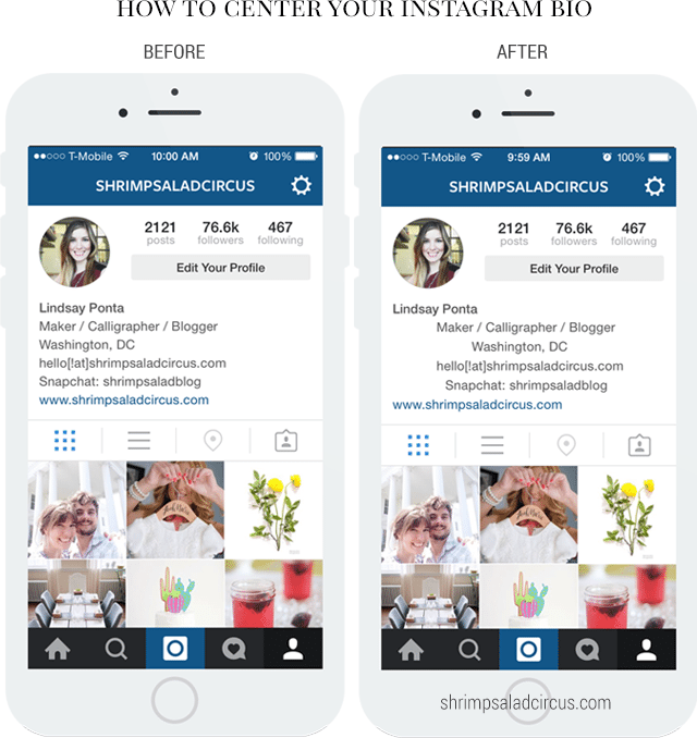 How to make your instagram bio lined up