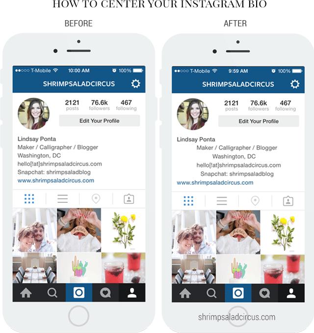 How to Center Your Instagram Bio - Shrimp Salad Circus
