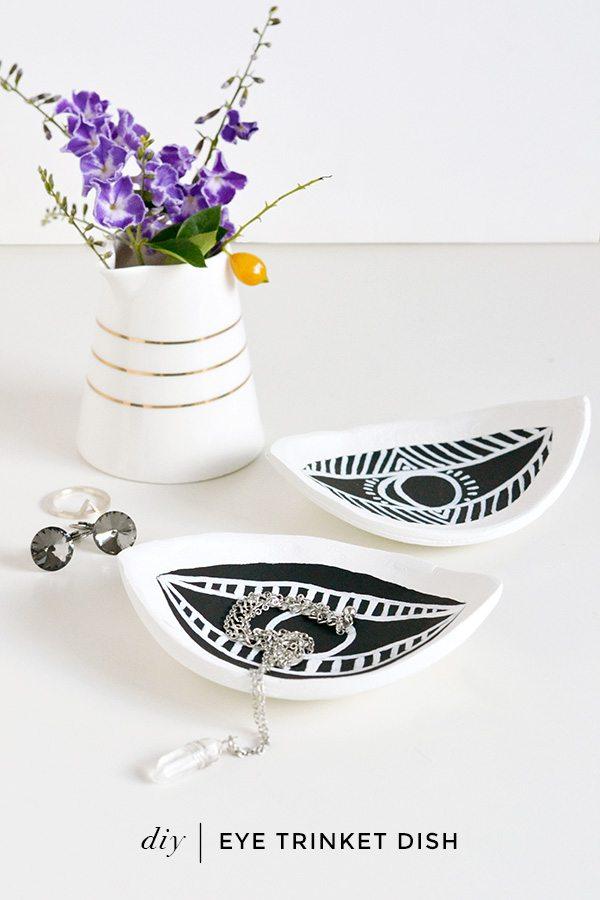 DIY eye shaped clay trinket dishes