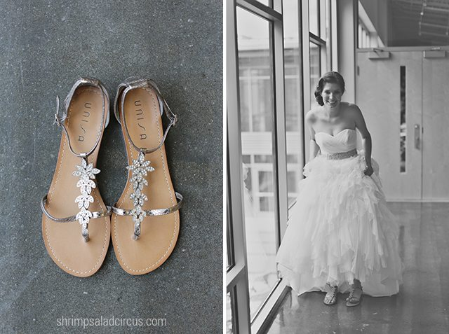 Shrimp Salad Circus Wedding Photos - Dress and Shoes