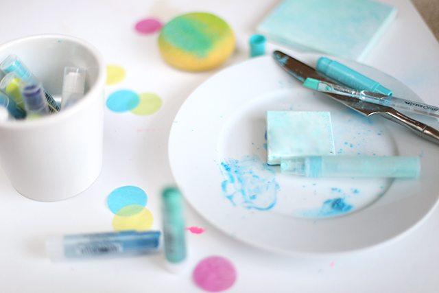 DIY Mixed Media Confetti Canvas Art Step 2