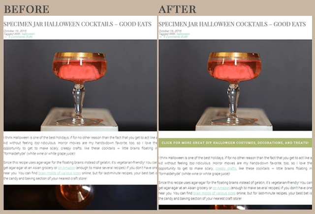 Before and After Internally Linking Blog Posts