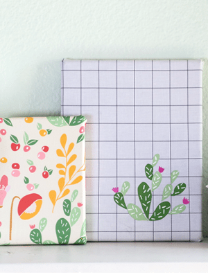 DIY Cactus Fabric Covered Canvas Wall Art How To Sday