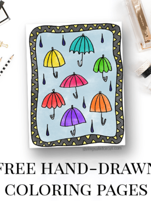 Under My Umbrellas – Free Coloring Page thumbnail
