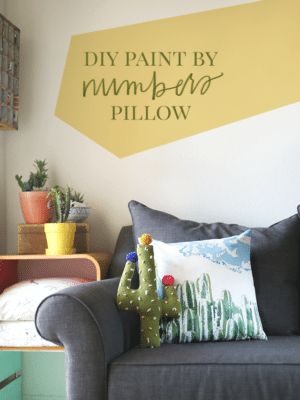Cactus DIY Paint by Number Pillow + Free Cactus Paint by Numbers Template thumbnail