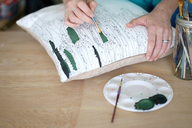 DIY Paint by Numbers Pillow - Step 3 - Filling in One Color at a Time