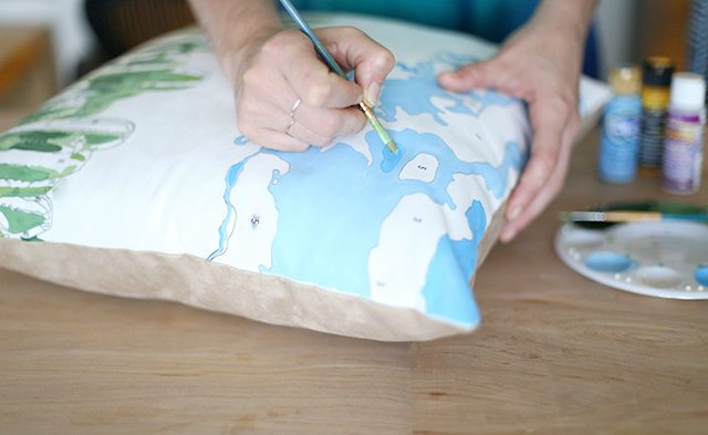 DIY Paint by Numbers Pillow - Step 5 - Filling in Color