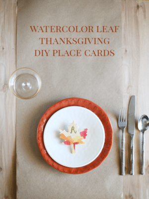 Watercolor Leaves DIY Thanksgiving Place Cards thumbnail