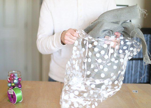 How to Wrap Christmas Presents - Polka Dot Burlap Fabric
