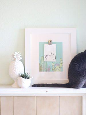 2016 Free Printable Calendar & Cactus Art thumbnail
