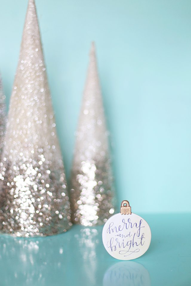 DIY Calligraphy Christmas Ornament with Free Printable Image Transfer Download