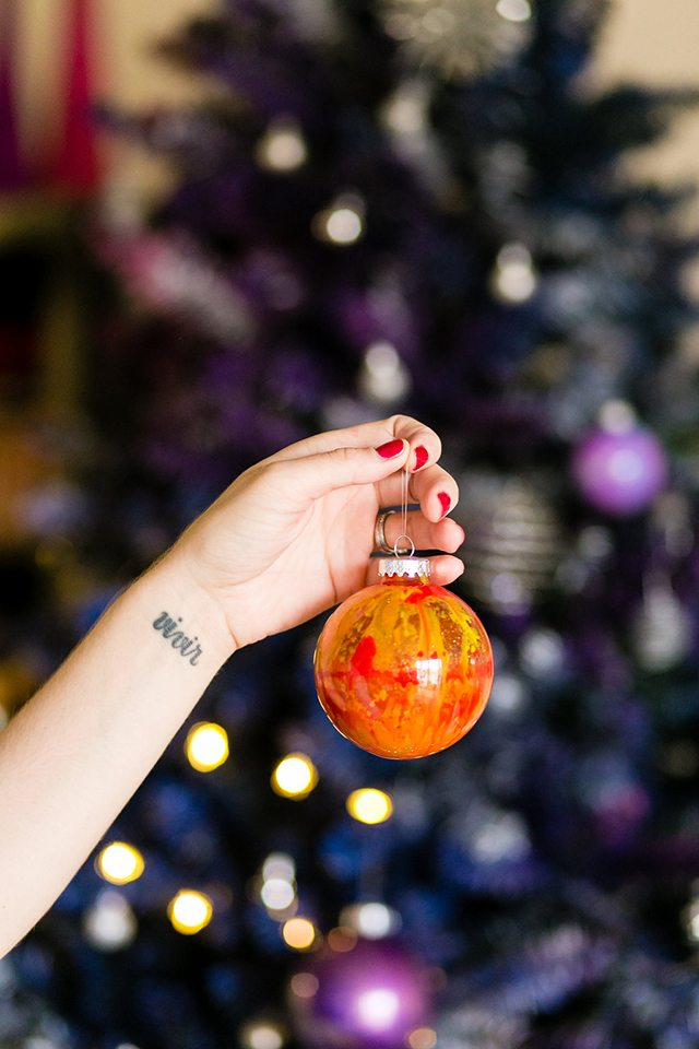 DIY Galaxy and Planet Christmas Ornaments - Red and Orange Swirls
