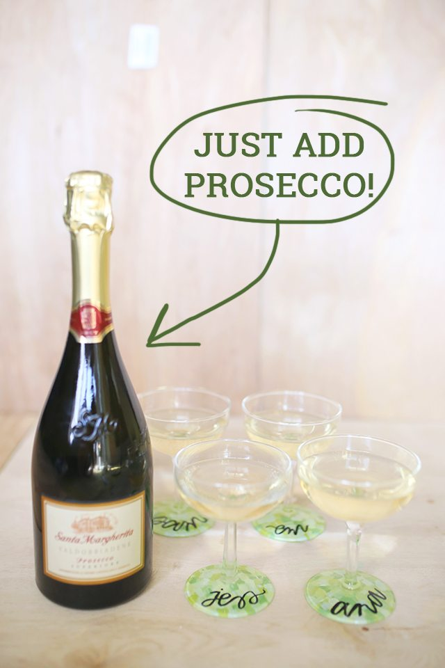 DIY Custom Wine Glasses - Just Add Prosecco for Perfect Party Place Cards