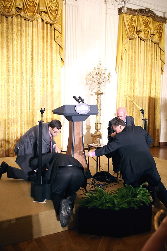 Preparing for Michelle Obama to Speak at the White House