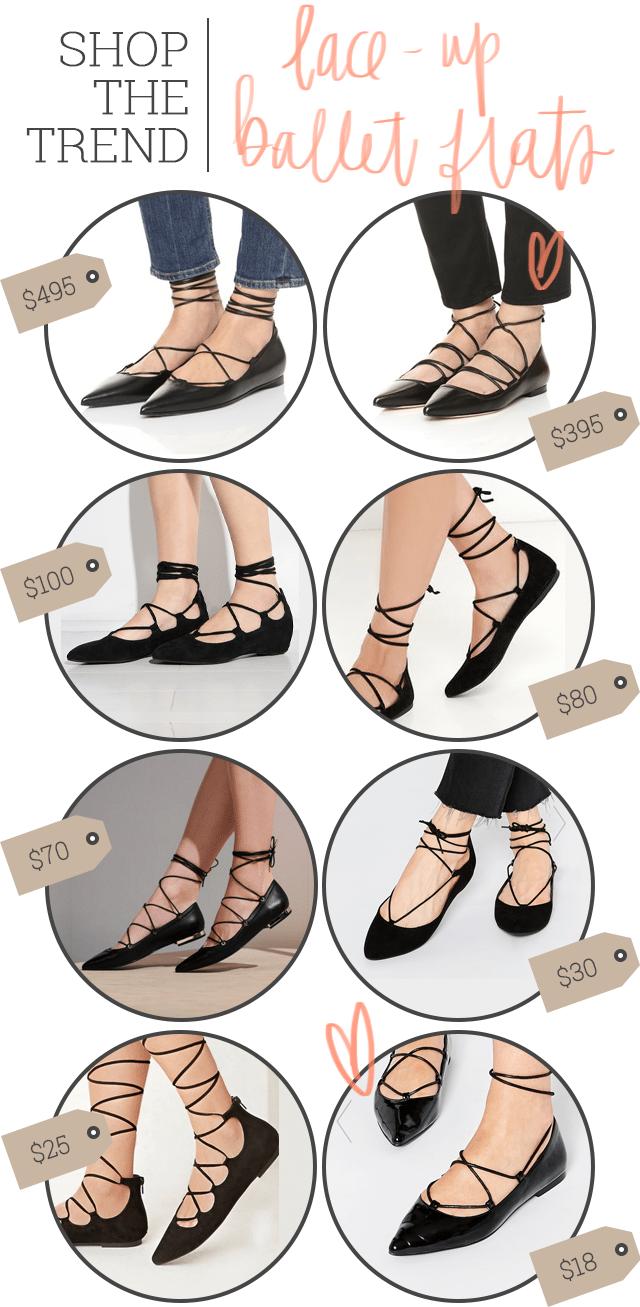 Shop the Trend - Lace Up Ballet Flats