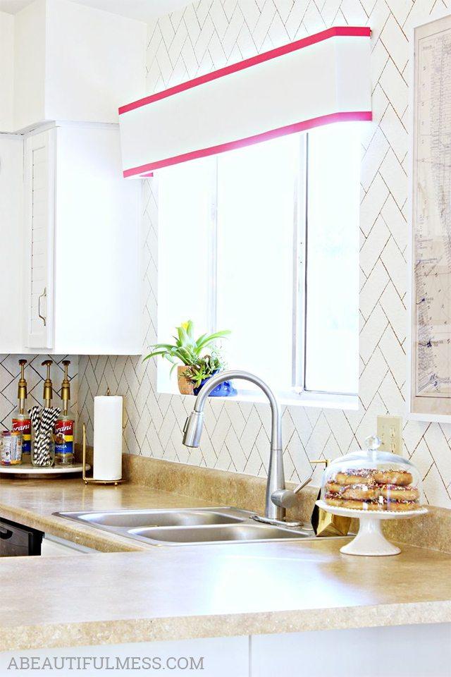 Faux Herringbone Tile - DIY Kitchen Backsplash Ideas - A Beautiful Mess