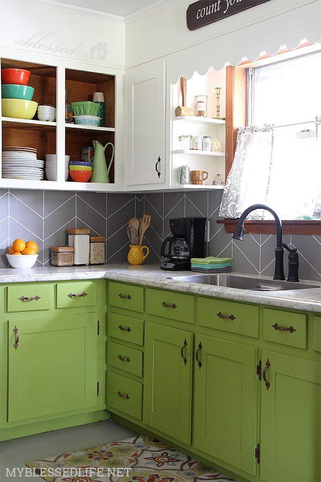 Faux Herringbone Tile - DIY Kitchen Backsplash Ideas - My Blessed Life
