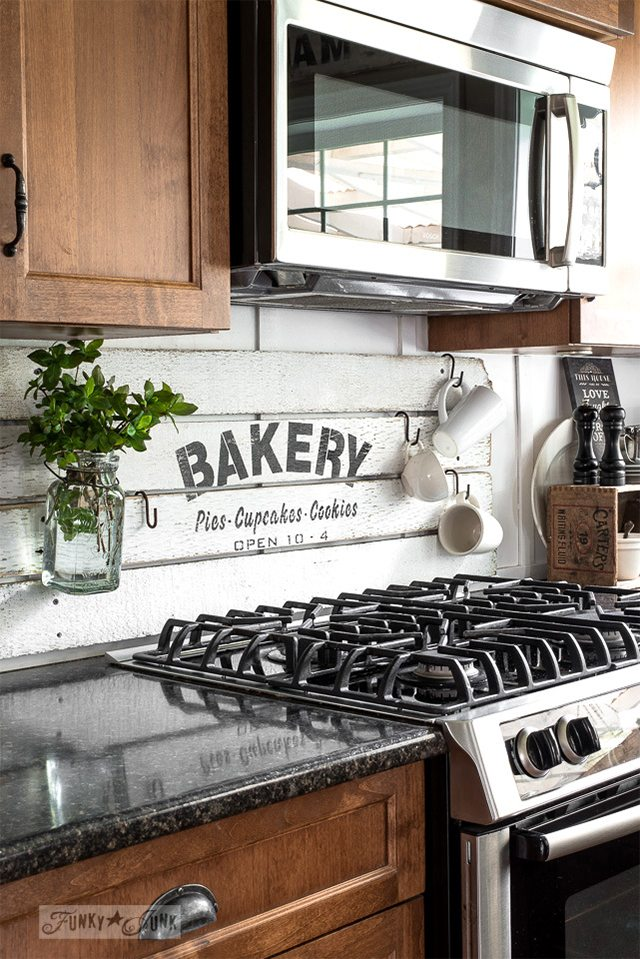 painted shiplap boards diy kitchen backsplash ideas funky junk interiors - Diy Kitchen Backsplash