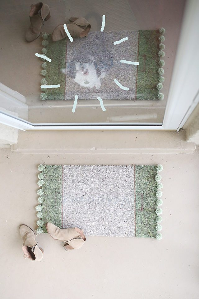 DIY Pom Pom Rug Doormat Tutorial - Cat Photobomb