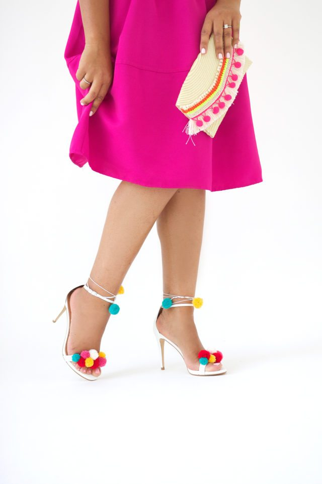 DIY Designer Inspired Pom Pom High Heel Shoes