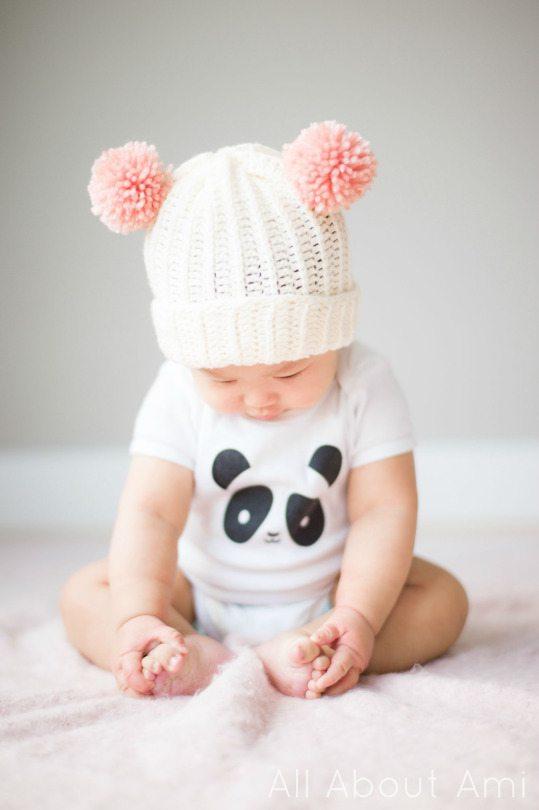 1 DIY Pom Pom Baby Beanie Hat