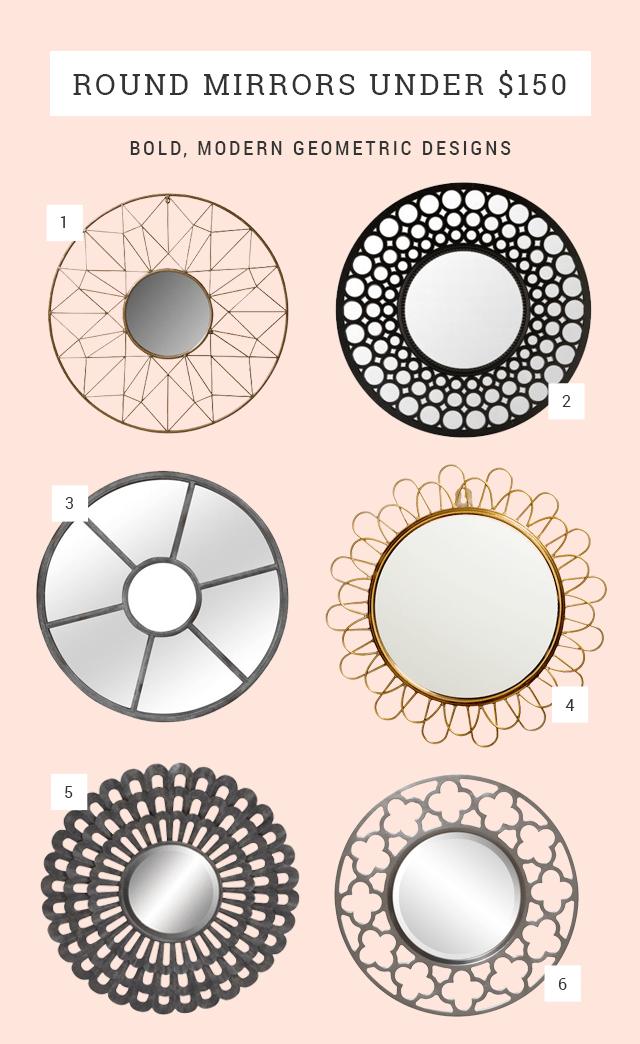 Round Mirror Ideas Under $150 - Bold Geometric Circle