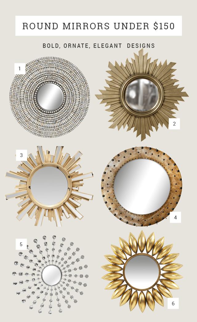Round Mirror Ideas Under 150 Bold Ornate Elegant Feminine Circle