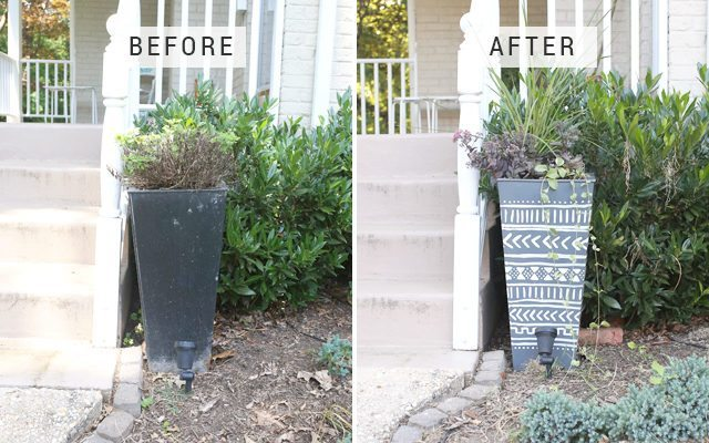 Giant DIY Mudcloth Planter - Before and After