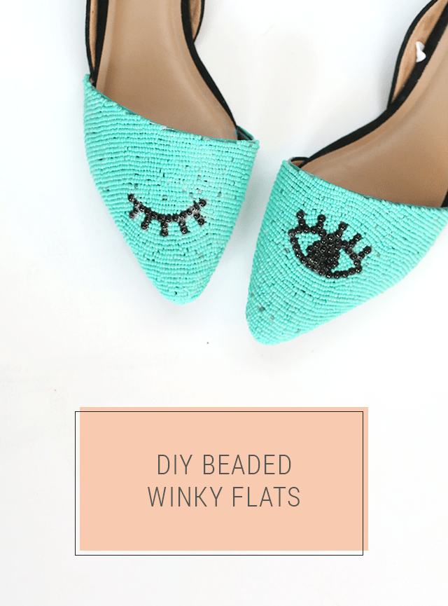 DIY Beaded Shoes - Turquoise Winky Eye Flats