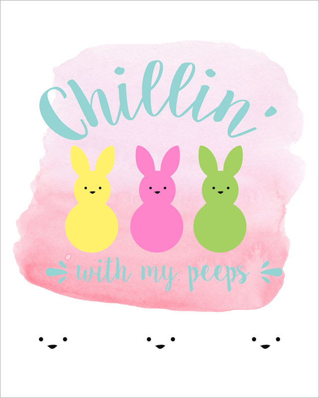 Free Easter Printables - Chillin' With My Peeps - Pink Preview