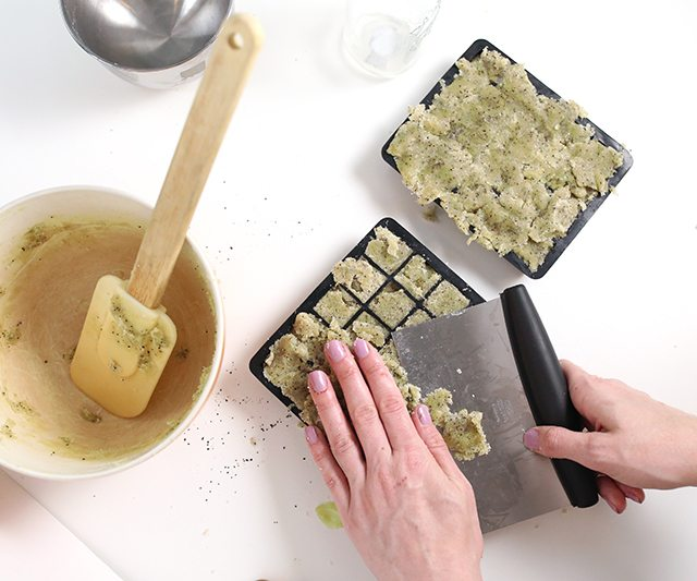 DIY Matcha GreenTeaSugar Scrub Cubes - Step 9 - Cut away excess to smooth