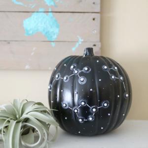 DIY No Carve Constellation Pumpkin for Halloween