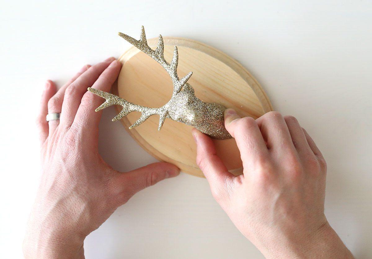 DIY Glitter Taxidermy Reindeer for Christmas