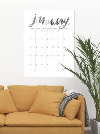 Oversized Hand Lettered Free Printable 2018 Calendar thumbnail