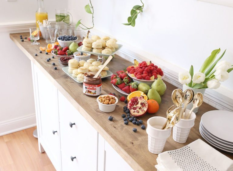 Buffet with breakfast fruit and biscuits