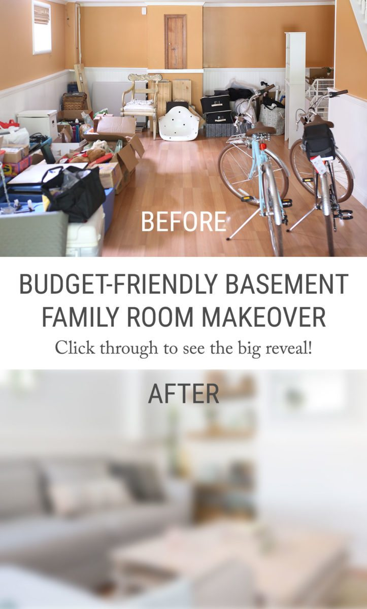 The Big Reveal My BudgetFriendly Living Room Basement Makeover