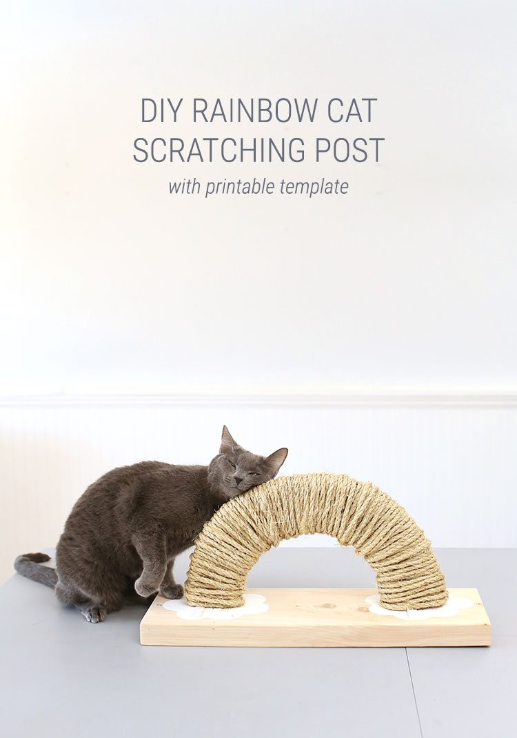 Rainbow DIY Cat Scratching Post With Free Printable Plans